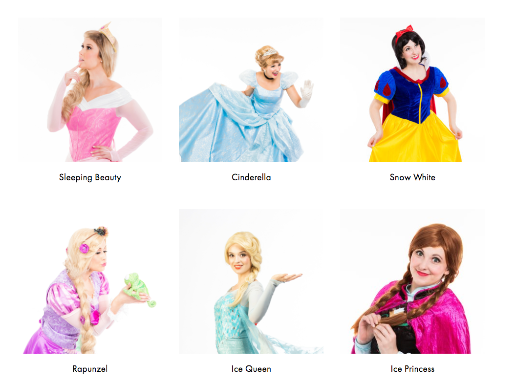Princess Characters for Mississauga & Toronto